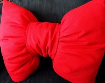 Vivid handmade Red bow shaped pillow unique home decor
