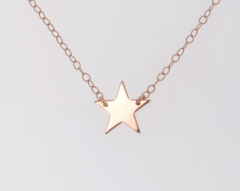 Star Necklace, 14K Solid Rose Gold, As Seen On Kelly Ripa