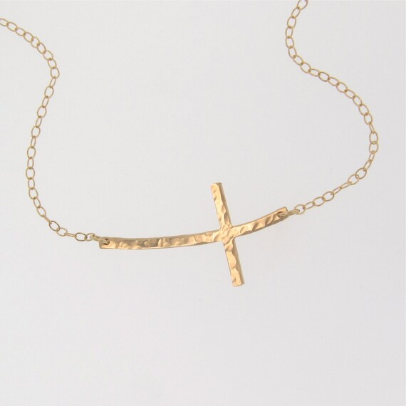 Sideways Curved Cross Necklace: Curved Sideways Cross Necklace Hammered 14K Gold Filled OR