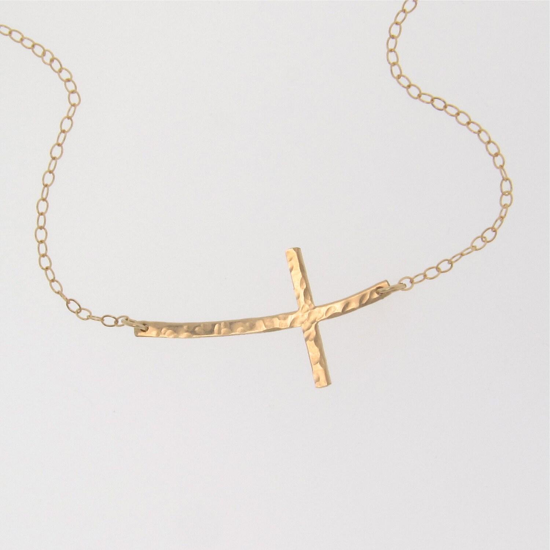 Curved Sideways Cross Necklace Hammered 14K Gold Filled OR