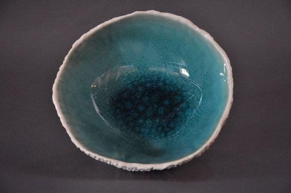 SALE - Ceramic Geode Dish in Cerulean Crackle