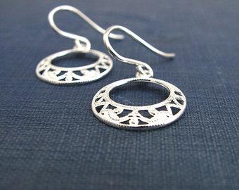Boho Silver Circle Filigree  Earrings
