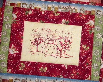 Redwork Snowman Hand Embroidery PDF Pattern Instant Digital Download