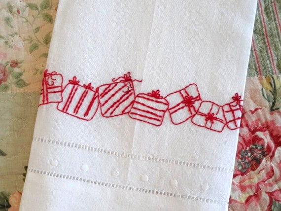 Redwork hand embroidery christmas gifts tea towel kit