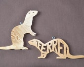 Ferret Ornaments Wood Hand Cut Pair Christmas