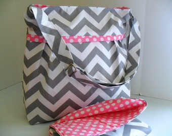 Large Diaper Bag Set Made of Chevron and Pink - Diaper Bag Set - Chevron Diaper Bag - Diaper Bag - Monogramming Available - Pink diaper Bag