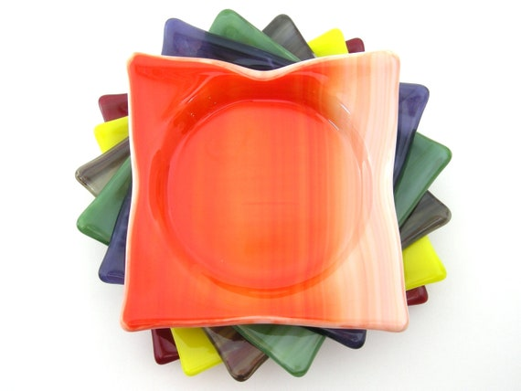 Art Glass Coasters / Fused Glass Coasters / Stained Glass Coasters - Set of 6