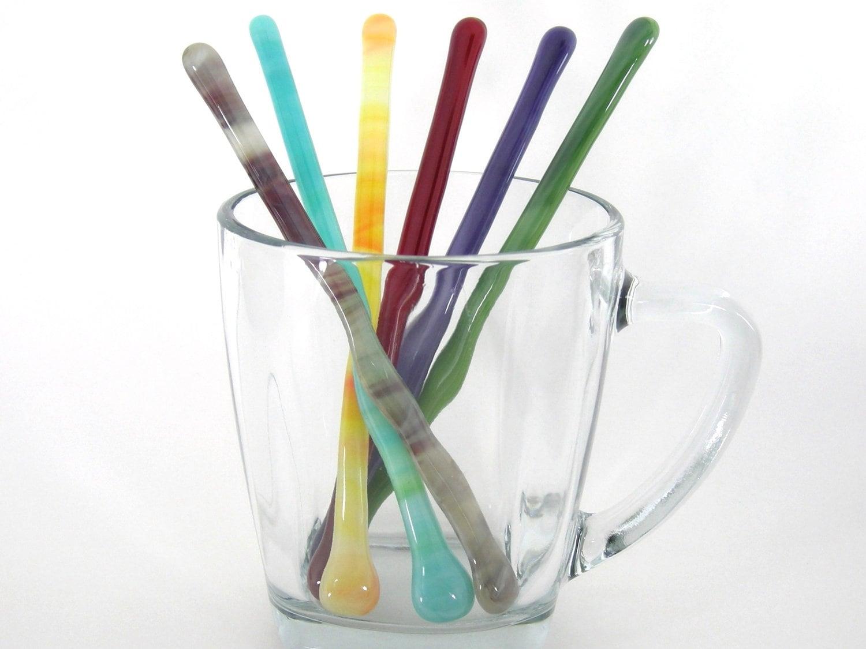 Glass Cocktail Stirrers Swizzle Sticks Drink Stir Sticks