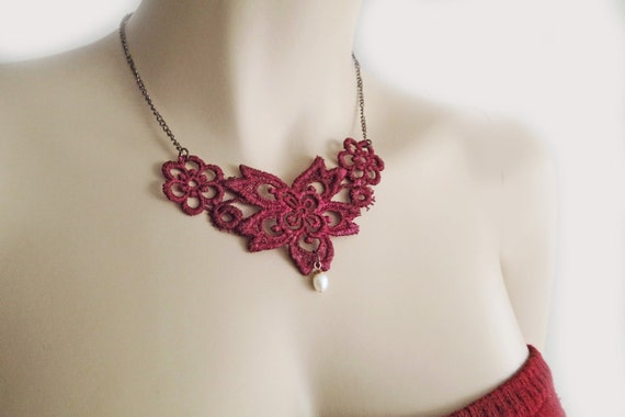 Indian Red Lace Necklace,  Bridesmaids Bib Necklace with Pearl, Lace Necklace with Pearll under 25