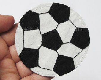 Soccer Ball Applique, Soccer Ball Patch, Fabric Soccer Ball, Soccer ball, Scrapbook Soccer Ball,  Soccer Embellishment, Patch -Made to Order