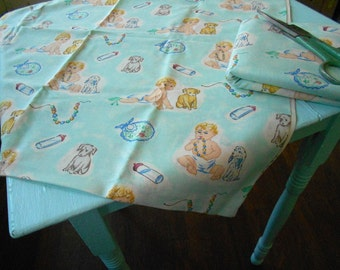 Vintage style Blonde Baby and Puppy - 1 Yard of new fabric
