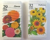 Flowers Magnets, Zinnia & Rudbeckia, Vintage Postage Stamps,  Two Magnets on Marble Tiles, Fridge Magnets, Locker Magnets, Gardener Gift