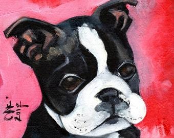 Boston Terrier Dog Art.  Cute Boston Terrier Puppy Art. Illustration. Poster. Red. Black. White. Signed by the Artist - Little Rascal.