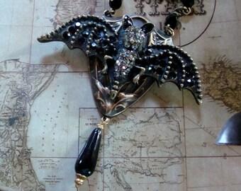 Vampire Bat Gothic Haute Rhinestone Necklace, Vintage Drop Glass Bead, Original Handmade Design