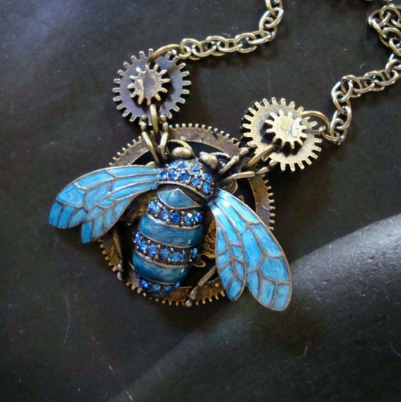 Steampunk Industrial Necklace, Jeweled Bug Pendant, Gears and Chain, Royal Rhinestones