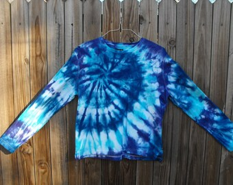 "Tie Dye Cotton Large Long Sleeve Up-cycled Women's , Juniors ""Swirl"" Shirt"