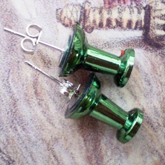 Another Day At The Office- Metallic Green Push Pin Stud Earrings LAST PAIR