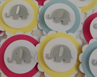 Elephant Cupcake Toppers - Yellow, Blue, Red and Gray - Birthday Party Decorations - Baby Shower Decorations - Set of 12
