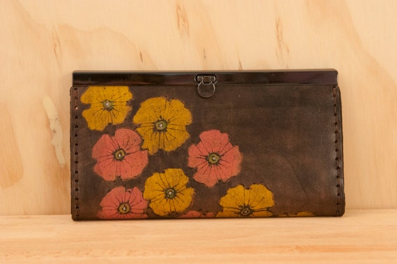 Checkbook Wallet - Leather in Pink, Yellow and Antique Black  - Poppy Garden Pattern with Flowers