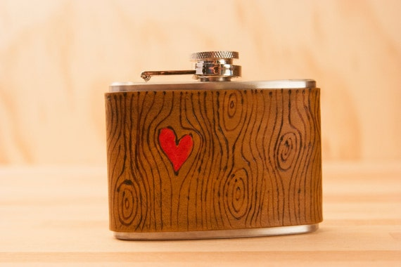 4oz Flask - Nice pattern in red and antique brown