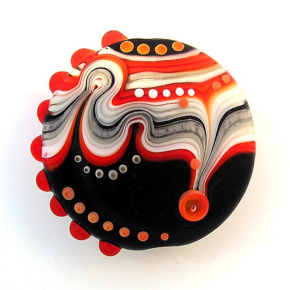 Red black white Lampwork bead lentil focal (1)FREE WORLDWIDE SHIPPING