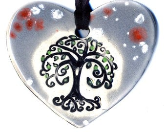 Tree Heart Ceramic Necklace in Spotted Gray