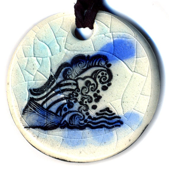 Waves Ceramic Necklace in Blues