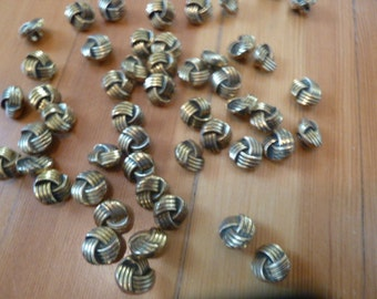 Fifty VIntage Little Gold Knot Buttons