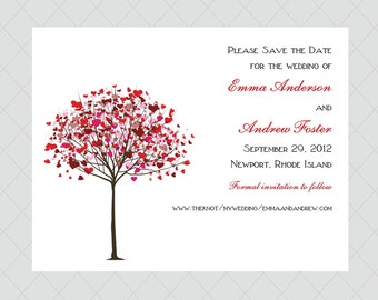 Heart Tree Save the Date Cards