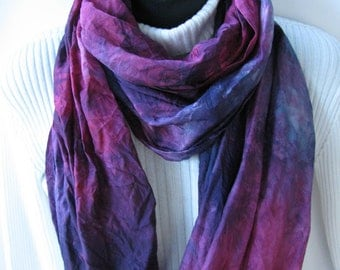 Hand Dyed Silk Infinity Scarf for Women-Plum Fancy-purple plum teal scarf-womens scarves winter fashion gift for her valentines day gift
