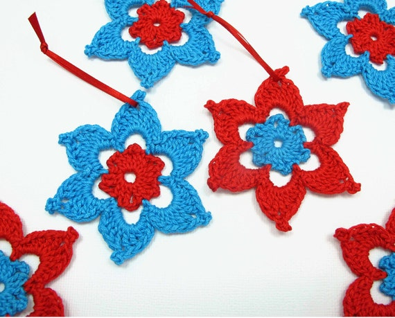 Decorations - Star- Red and Blue - Crochet - 6