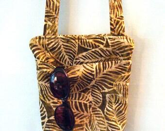 Batik Hipster Bag in Tropical Brown Leaf Print