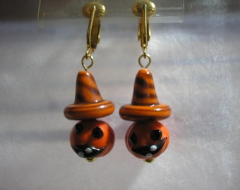 Pumpkin Earring w/Witch's Hat - Dangle - Orange