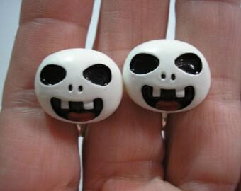 "Ghost Skull - Play Earring - Clip or Pierced - 3/4"""