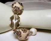 Marrakesh Style Crystal Cream Colored  Bracelet  - ANGEL WINGS