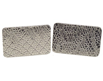 Sterling silver lace imprint cufflinks