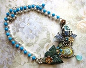 Blue Beetle With Butterfly And Nature Necklace Swarovski Crystals Bib Statement Green Blue Glamorous