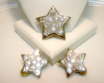 CLEARANCE--Vintage Rhinstones Brooch and Earring Set Stars