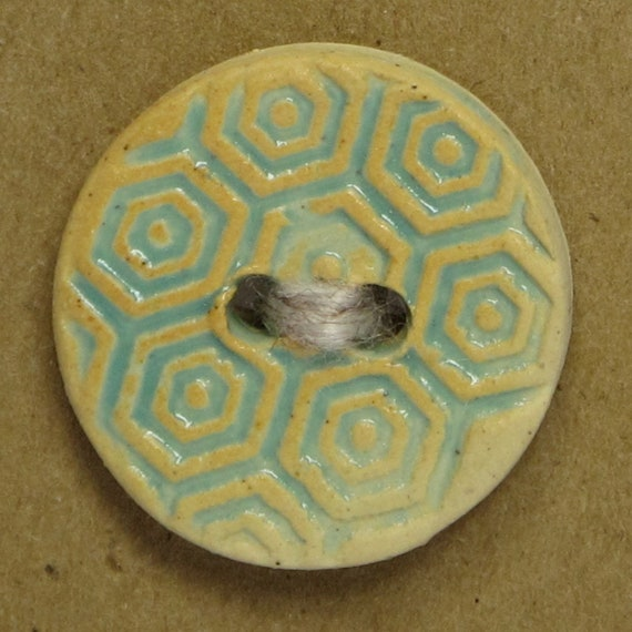 SALE Stamped Honeycomb Ceramic Stoneware Button - Bright Turquoise - FREE SHIPPING