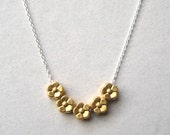 Brass Flower Necklace, Brass Charm Sterling Silver Chain Necklace, Floral Jewelry, Gold Flower Necklace