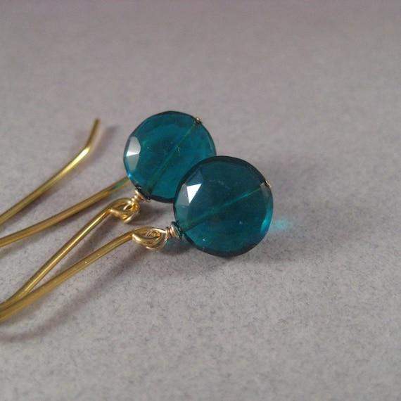SALE Green Quartz Earrings, Faceted Disc Earrings, Faceted Quartz Vermeil Earrings, Forest Green Teal Round Geometric Earrings