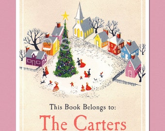 Vintage Personalized Bookplates - Christmas Town - Family Library, Holiday, Stocking Stuffer