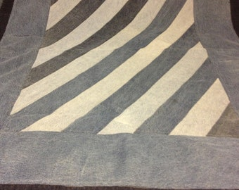 Recycled Denim Quilt With Strips, Borders and Blue Gingham Fabric on the back