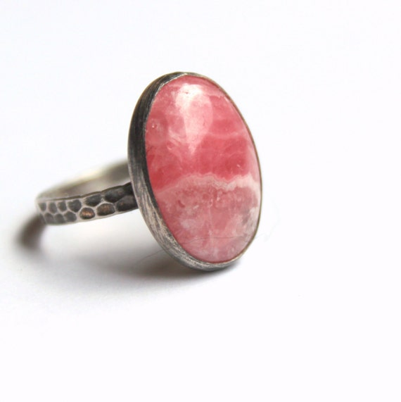 Pink ring, rhodochrosite ring, sterling silver ring size 7, oval stone ring