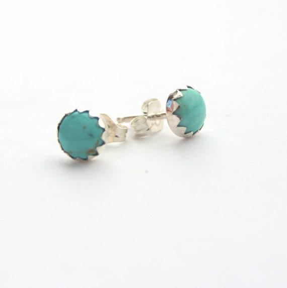 Sky blue turquoise stud earrings sterling silver earrings