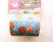Japanese Fabric Tape Cherry Blossoms Temari Japanese Balls Blue (FT14)