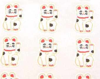 Lucky Cat Stickers - Japanese Stickers - Maneki Neko Stickers - (S278)