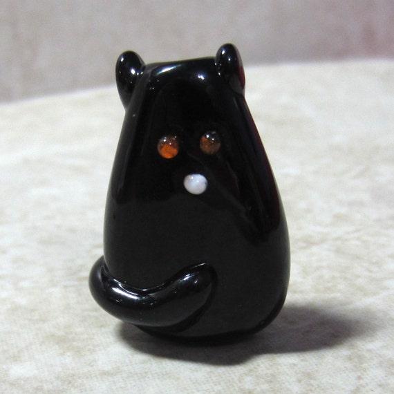 Black Cat Handmade Lampwork Glass Focal Bead Marla