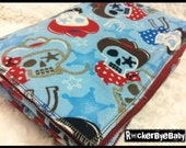 Rodeo Skulls Cowboy RockerByeBasics Baby or Toddler Blanket star horseshoe with red flannel boys 36x42