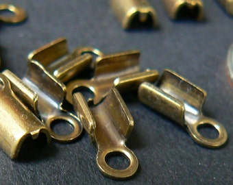 Brass Cord End Caps. 5 mm length with 2 mm loop opening. Vintage. Gift included. 16 crimp end pieces.
